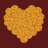 Grupo da cookie dos pedaços de chocolate do coração, fundo recentemente cozido do marrom escuro de quatro cookies Cores brilhante ilustração royalty free