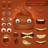 Grupo da criação de caráter do emoticon do poo dos desenhos animados imagem de stock royalty free