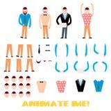 Grupo da criação do caráter do homem de negócios Ícones com tipos diferentes de caras, emoções, roupa ilustração do vetor