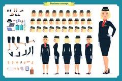 Grupo da criação do caráter da mulher A comissária de bordo, aeromoço  ilustração stock
