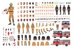 Grupo da criação do sapador-bombeiro ou jogo de DIY Pacote de partes do corpo do bombeiro, expressões faciais, vestuário de prote ilustração royalty free