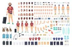 Grupo da criação do turista ou jogo de DIY Coleção de partes do corpo do personagem de banda desenhada s, de cara com emoções dif Foto de Stock Royalty Free