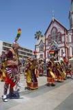 Grupo da dança de Tinkus no carnaval em Arica, o Chile Imagens de Stock Royalty Free