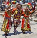 Grupo da dança de Tinkus no carnaval em Arica, o Chile Fotografia de Stock Royalty Free