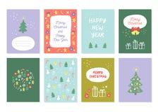 Grupo da decoração do ano novo e do Feliz Natal ilustração do vetor