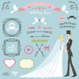 Grupo da decoração do casamento Noiva lisa, noivo, redemoinhos, crachás, fitas ilustração stock