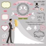 Grupo da decoração do convite do casamento Noivos Couple ilustração royalty free