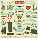 Grupo da decoração do dia de pais Fitas do desenho da mão, elementos Imagem de Stock