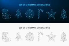 Grupo da decoração do Natal feito pelo ponto e pela linha O baixo feriado poli ornaments a malha poligonal do wireframe Vetor ilustração stock