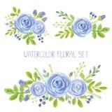 Grupo da decoração do ramalhete das flores do azul da aquarela ilustração do vetor