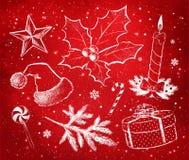 Grupo da decoração do vermelho e do White Christmas Fotos de Stock Royalty Free