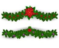 Grupo da decoração da beira do Natal Fotografia de Stock Royalty Free