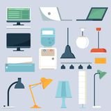 Grupo da eletrônica da casa e do escritório ilustração royalty free
