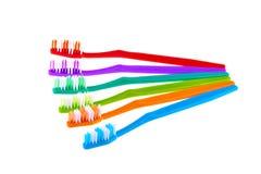 Grupo da escova de dentes isolado no fundo branco Fotos de Stock