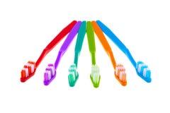 Grupo da escova de dentes isolado no fundo branco Imagens de Stock Royalty Free