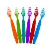 Grupo da escova de dentes isolado no fundo branco Foto de Stock