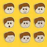 Grupo da etiqueta, da etiqueta ou de etiqueta com expressões diferentes Imagens de Stock