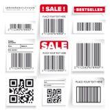Grupo da etiqueta de código de barras e do vetor da venda Imagem de Stock Royalty Free