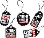 Grupo da etiqueta de segunda-feira do Cyber, ilustração do vetor Foto de Stock