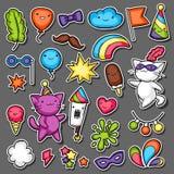 Grupo da etiqueta do kawaii do partido do carnaval Gatos bonitos, decorações para a celebração, objetos e símbolos Foto de Stock Royalty Free