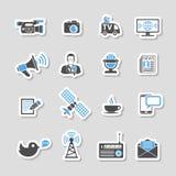 Grupo da etiqueta dos ícones dos meios e da notícia Foto de Stock