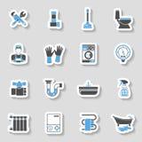 Grupo da etiqueta dos ícones do serviço do encanamento Fotografia de Stock Royalty Free