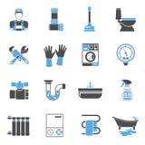 Grupo da etiqueta dos ícones do serviço do encanamento Foto de Stock