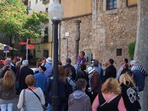 Grupo da excursão, Girona Imagens de Stock Royalty Free