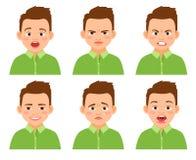 Grupo da expressão da cara do menino ilustração royalty free