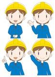 Grupo da expressão da mulher do operário ilustração stock