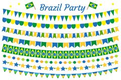 Grupo da festão de Brasil Bunting festivo brasileiro das decorações Elementos do partido, bandeiras Isolado no fundo branco Vetor Imagem de Stock Royalty Free