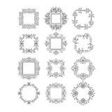 Grupo da flor do monograma ilustração stock