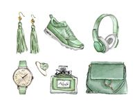Grupo da forma da aquarela de acessórios na moda Saco, brincos, relógios, sapatilhas, perfume, anel ilustração royalty free