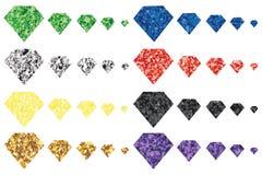 Grupo da forma da cor do brilho do diamante Foto de Stock