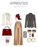 Grupo da forma da roupa da mulher, dos acessórios, e da coleção de clipart das sapatas ilustração royalty free