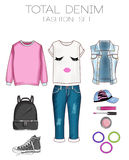 Grupo da forma da roupa da mulher, dos acessórios, e da coleção de clipart das sapatas Fotografia de Stock