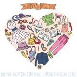 Grupo da forma de Sammer Mulher, desgaste colorido no coração ilustração royalty free