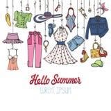 Grupo da forma do verão Desgaste colorido da mulher que pendura na corda ilustração royalty free