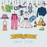 Grupo da forma do verão Desgaste colorido mulher que pendura na corda ilustração royalty free