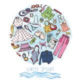 Grupo da forma do verão Mulher, desgaste colorido no círculo ilustração stock