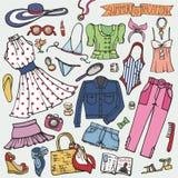Grupo da forma do verão A mulher, menina coloriu o desgaste ilustração royalty free