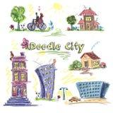 Grupo da garatuja da cidade colorido Imagem de Stock