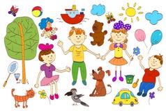 Grupo da garatuja da vida bonito da criança que inclui animais de estimação, brinquedos, plantas Imagem de Stock Royalty Free