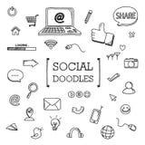 Grupo da garatuja de artigos sociais da rede Fotografia de Stock Royalty Free
