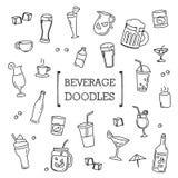Grupo da garatuja de bebida Imagem de Stock Royalty Free
