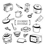 Grupo da garatuja de cozinhar artigos Fotografia de Stock