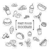 Grupo da garatuja de Fastfood Imagem de Stock