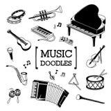 Grupo da garatuja de instrumento de música Fotografia de Stock Royalty Free