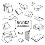Grupo da garatuja de livros Fotografia de Stock