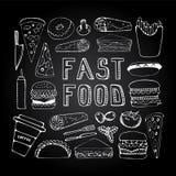 Grupo da garatuja do fast food Imagens de Stock Royalty Free